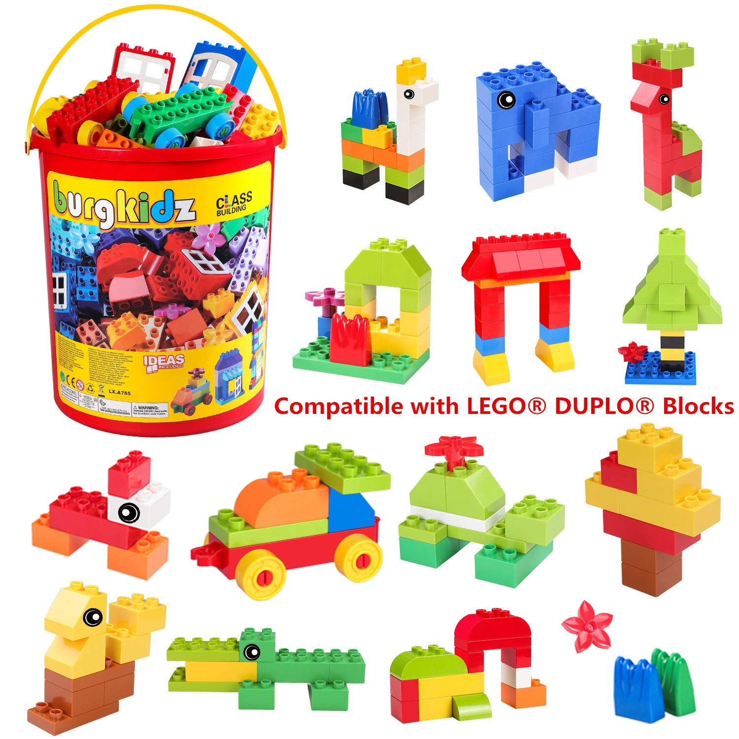 burgkidz Big Building Block Sets - 214 Pieces Toddler Educational Toy Classic Large Sizes Building Blocks Bricks - 13 Fun Shapes and Storage Bucket - Compatible with All Major Brands by burgkidz (Image #2)