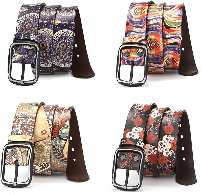 Thadensama Women Belt Luxury Genuine Leather Belt For Men Fashion Printing Belts For Women Retro Unisex Casual Jeans Belts