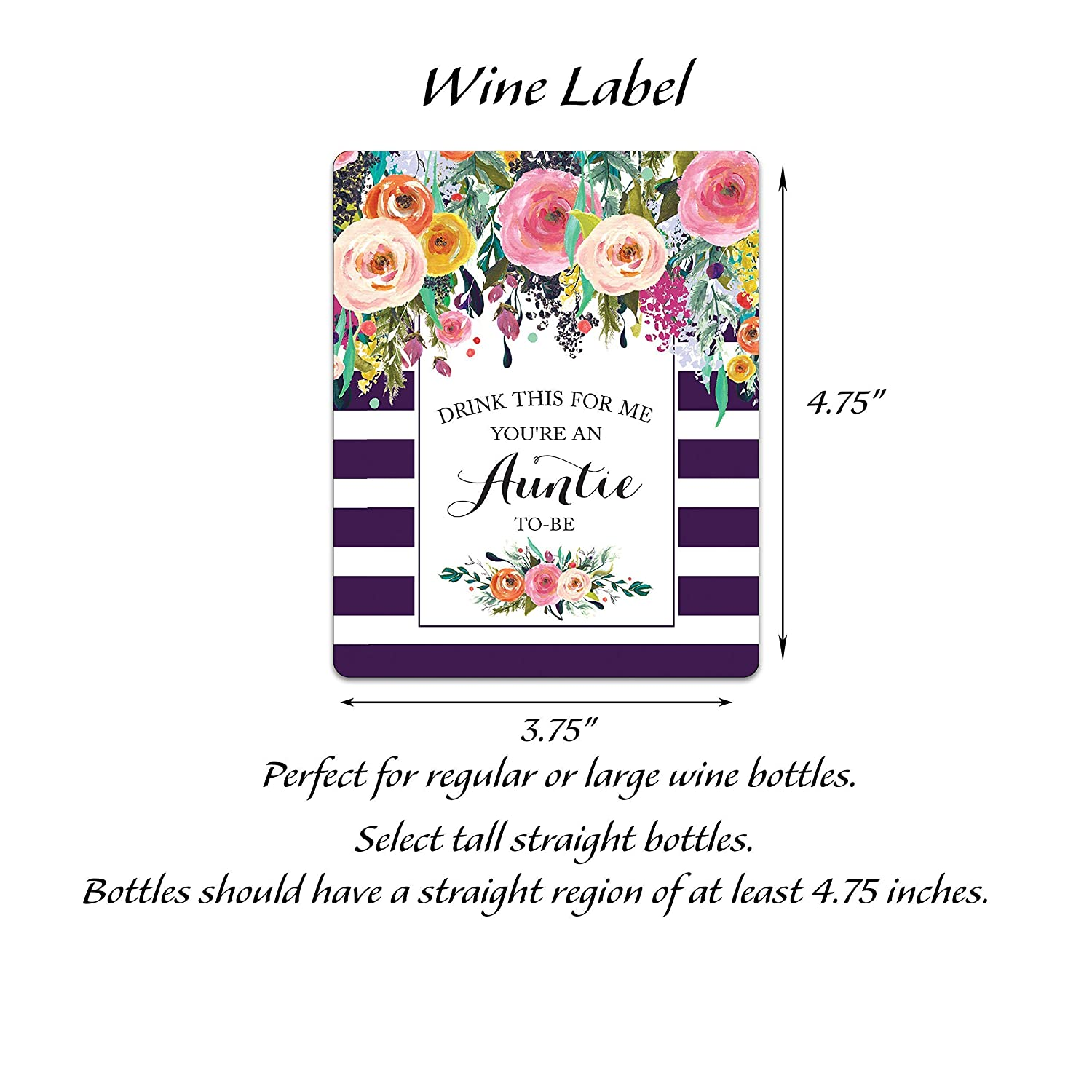 A108-5A1 Alternative to Birth Announcement Cards Youre An Auntie-To-Be Pregnancy Reveal Wine Labels Pregnancy Announcement Wine Labels ● SET of 5 ● Drink This For Me EGGPLANT WEATHERPROOF