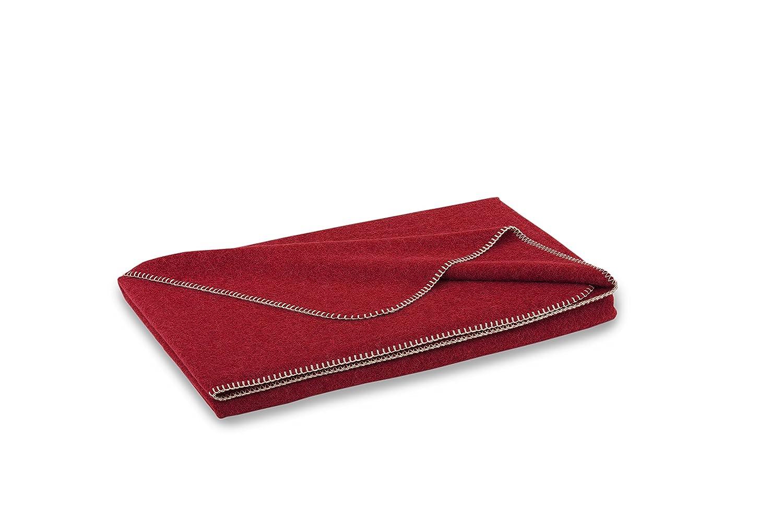 STEINER 1888 Rote Wolldecke 'preiselbeer' aus 50% Merinowolle und 50% Alpaka, 190x150cm, umkettelt, ca 1000 g, waschbar