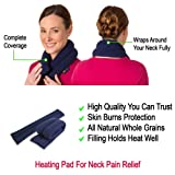 """Microwavable Neck Heating Wrap, Extra Long, 25""""x5"""", Heat Therapy Pad for Sore Neck & Shoulder Muscle Pain Relief - Thermal, Reusable, Non Electric Hot Pack Pads or Cold Compress, Navy Blue"""