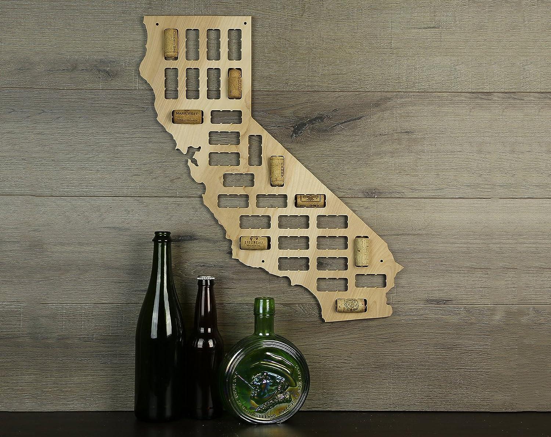 Wooden Shoe Designs California Wine Cork Map, Tan