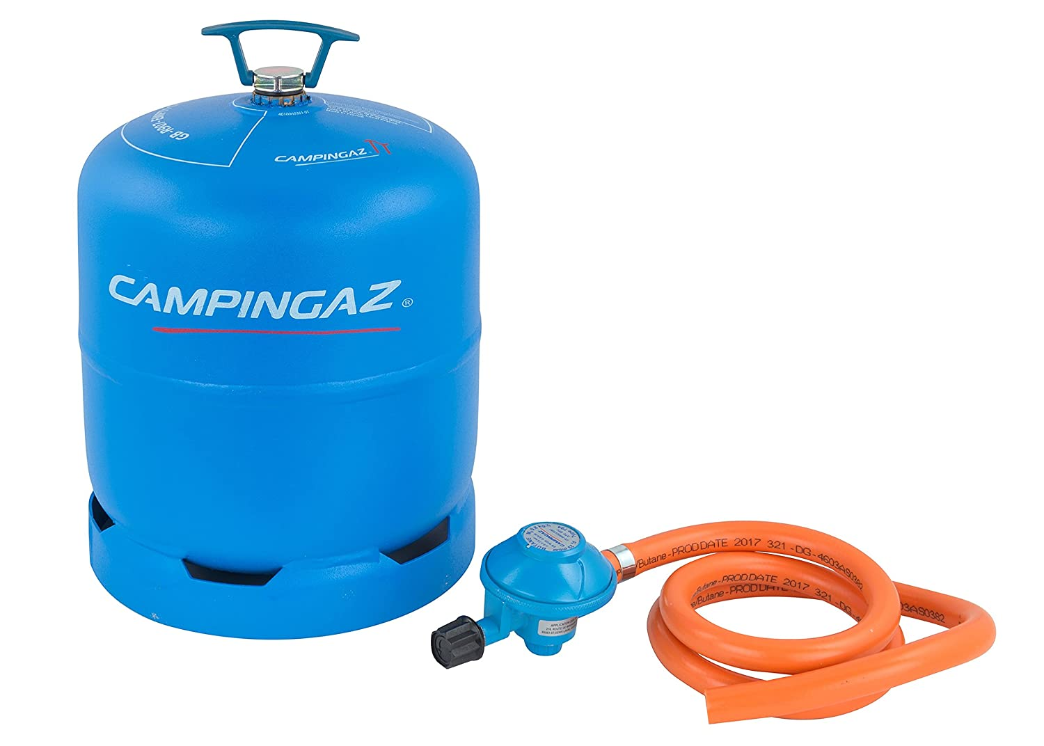 Campingaz R907 Empty Gas Cylinder, 2.75 Kg Gas Capacity, Incl. Hose and 29mbar Regulator, for Use With Any Two Burner Stove, International Exchange Service 3000005648