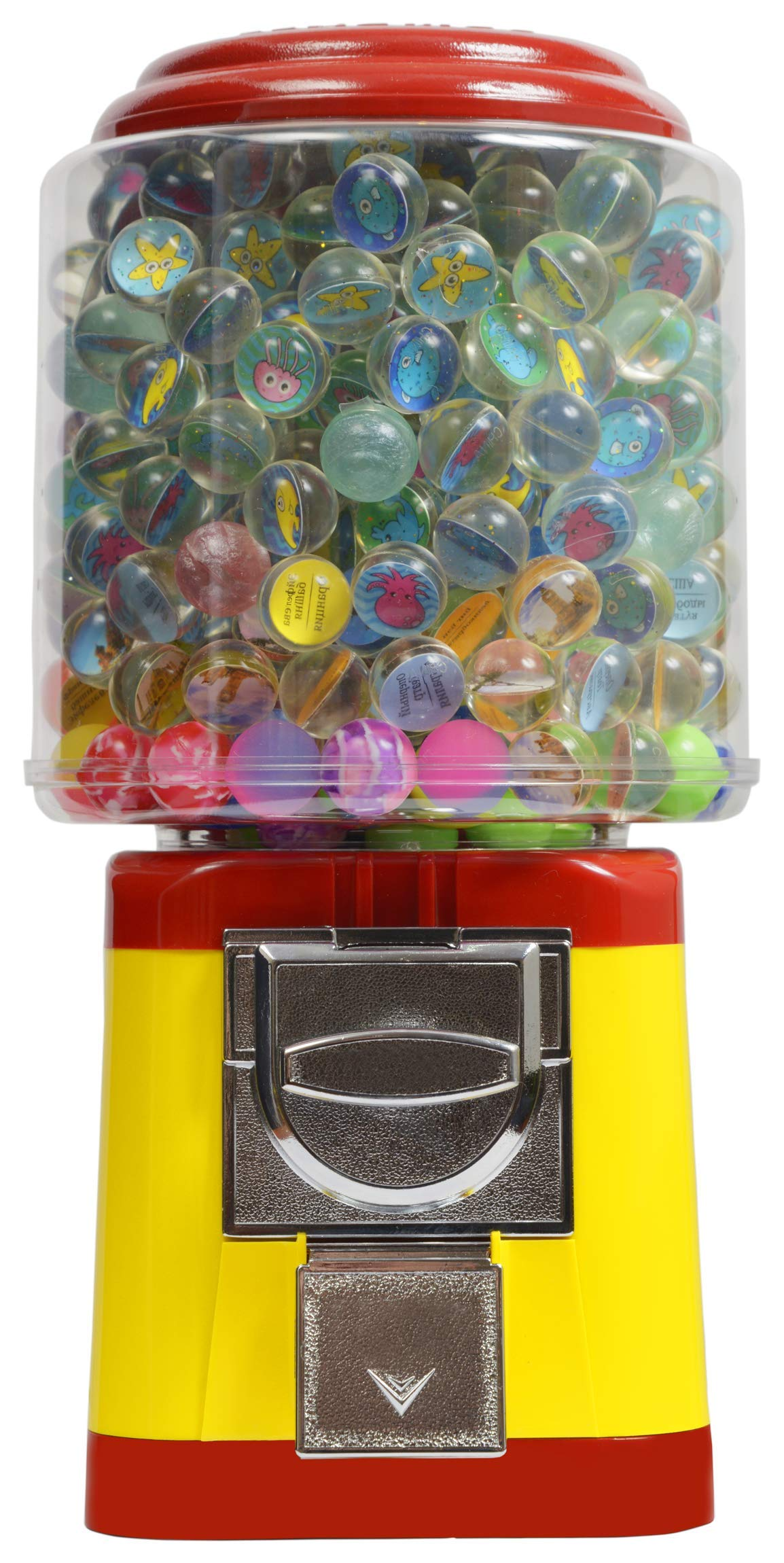 Gumball Vending Machine & Bouncy Balls Vending Machine & Toys Vending Machine & Capsule Vending Machine - Yellow Body & Red Trim - without stand