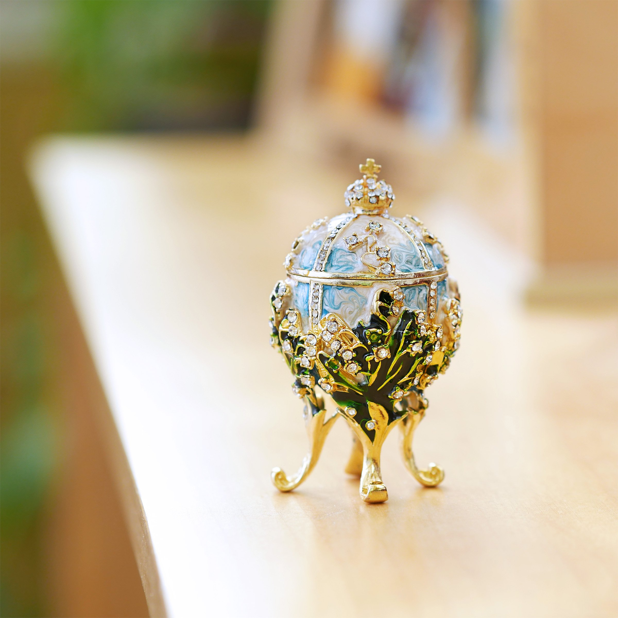 Apropos Hand-Painted Vintage Style Faberge Egg with Rich Enamel and Sparkling Rhinestones Jewelry Trinket Box (S. White Cross) by Apropos (Image #6)