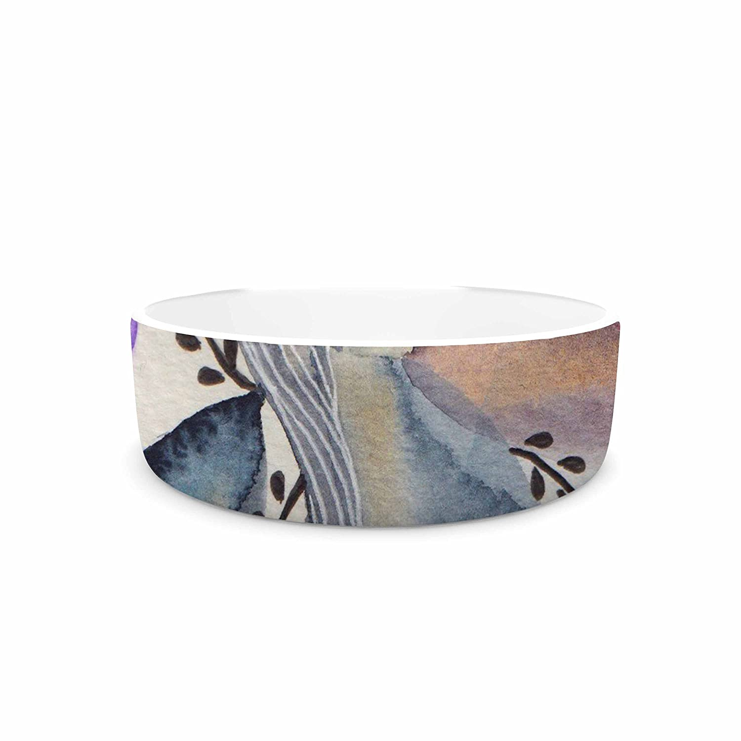 KESS InHouse Li Zamperini Organic bluee Multicolor Watercolor Pet Bowl, 7  Diameter