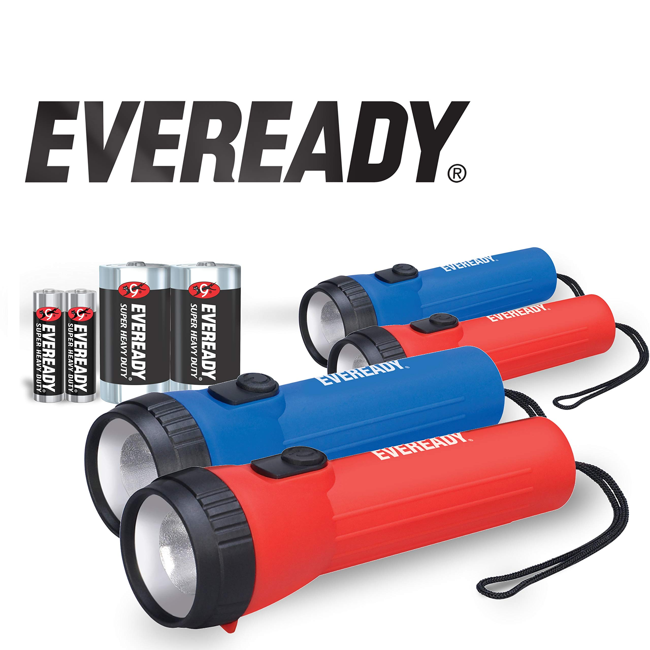 Eveready LED Flashlight 4-Pack , 25 Lumens, Durable Ribbed Casing for Strength and Grip