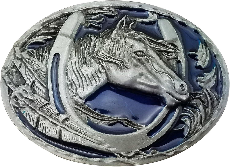 Lanxy Western Cowboy Leaf Horse Head Horseshoe Belt Buckle For Men Blue Enamel Grey Tone