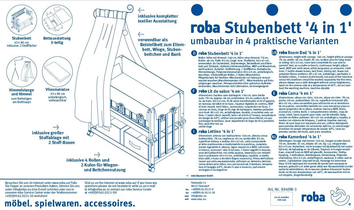roba Stubenbett 4 in 1 beige 8952BCV201 bicolor Beistellbett Kleine Wolke Babybett Wiege /& Bank mit Ausstattung