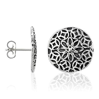 Córdoba Jewels | Pendientes en plata de ley 925. Diseño Flor Filigrana: Amazon.es: Joyería