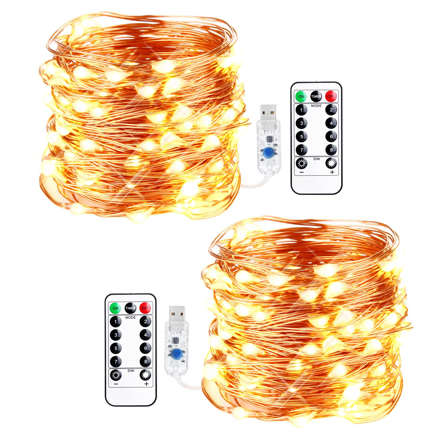 innotree LED String Lights, [2 Pack]100 LED USB Plug in Fairy String Lights, 8 Modes Warm White & Multi-Color Changing Copper Wire Lights with Remote &Timer, Twinkle Lights for Bedroom, Patio, Party