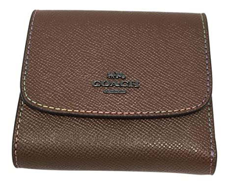 Coach Rainbow Stitch Small Wallet Dark Saddle F31570 At Amazon