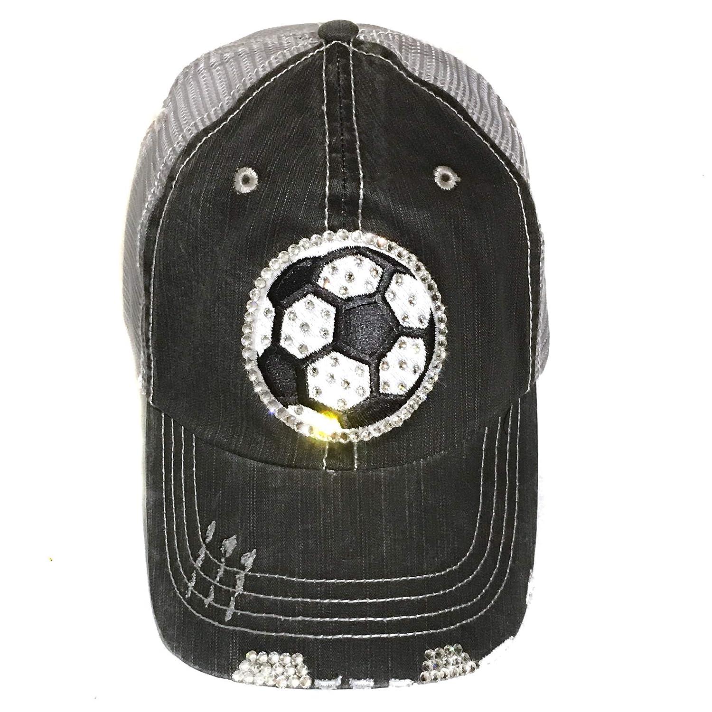 Soccer Mom Hat Mesh Back Trucker Cap Black White Ball Swarovski Crystal Bling
