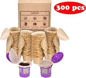 Delilbru Unbleached Paper Filters for Reusable K Cups - Biodegradable Paper coffee filters with Lid Fits All Brands (300/Box)