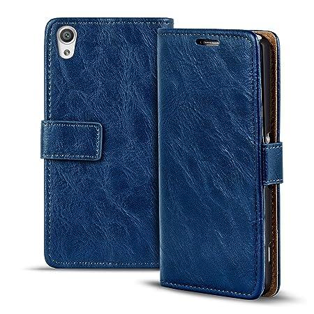 Verco Xperia XA Hülle, Premium Handy Schutzhülle für Sony Xperia XA Hülle PU Leder Wallet Tasche Retro Flipcase, Blau