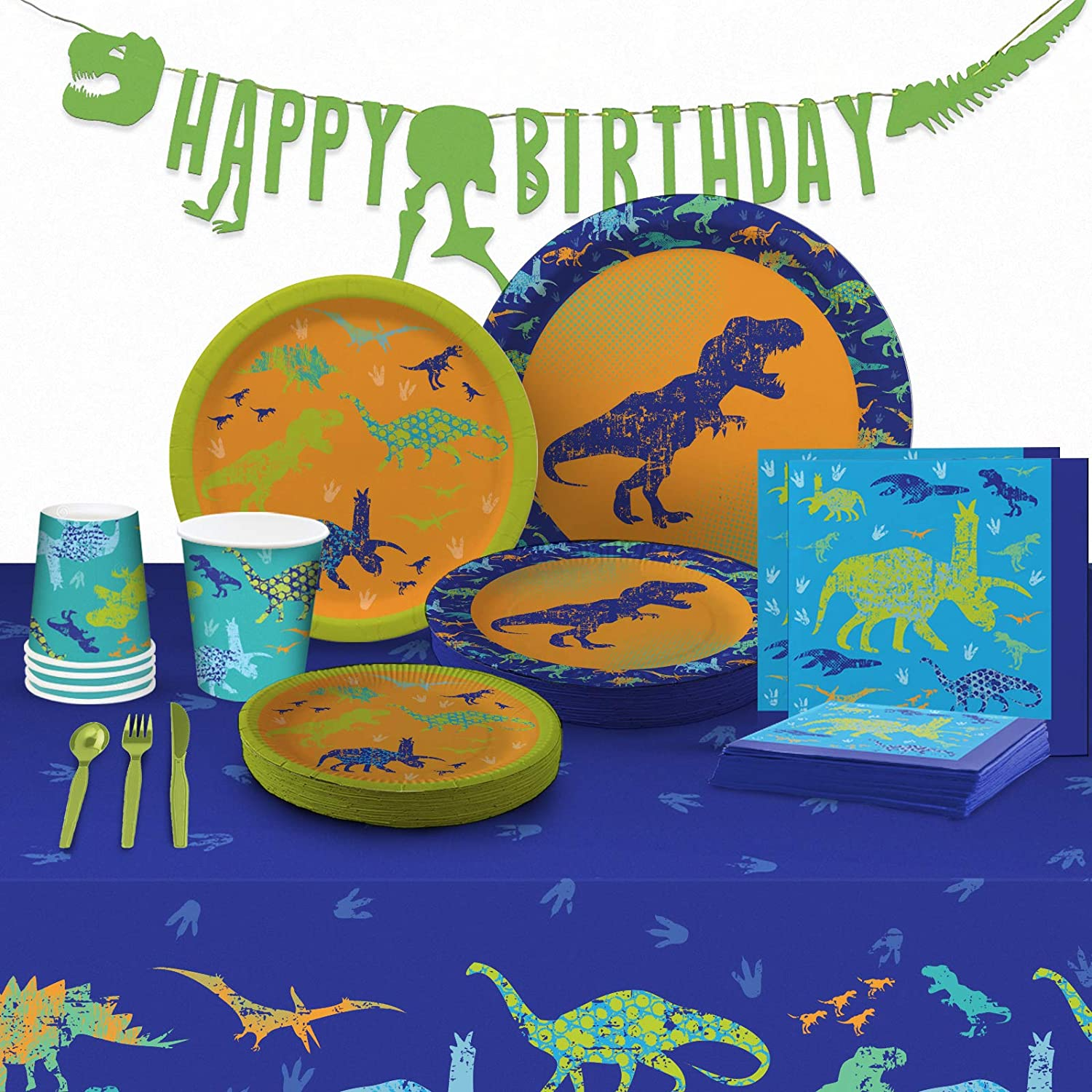 My Greca Dinosaur Party Supplies - (Serves 16) - Dinosaur Decorations Set for Birthday Party - Plates, Cups, Napkins, Happy Birthday Banner, Table Cover, Cutlery Kit - TREX Bday Theme Pack