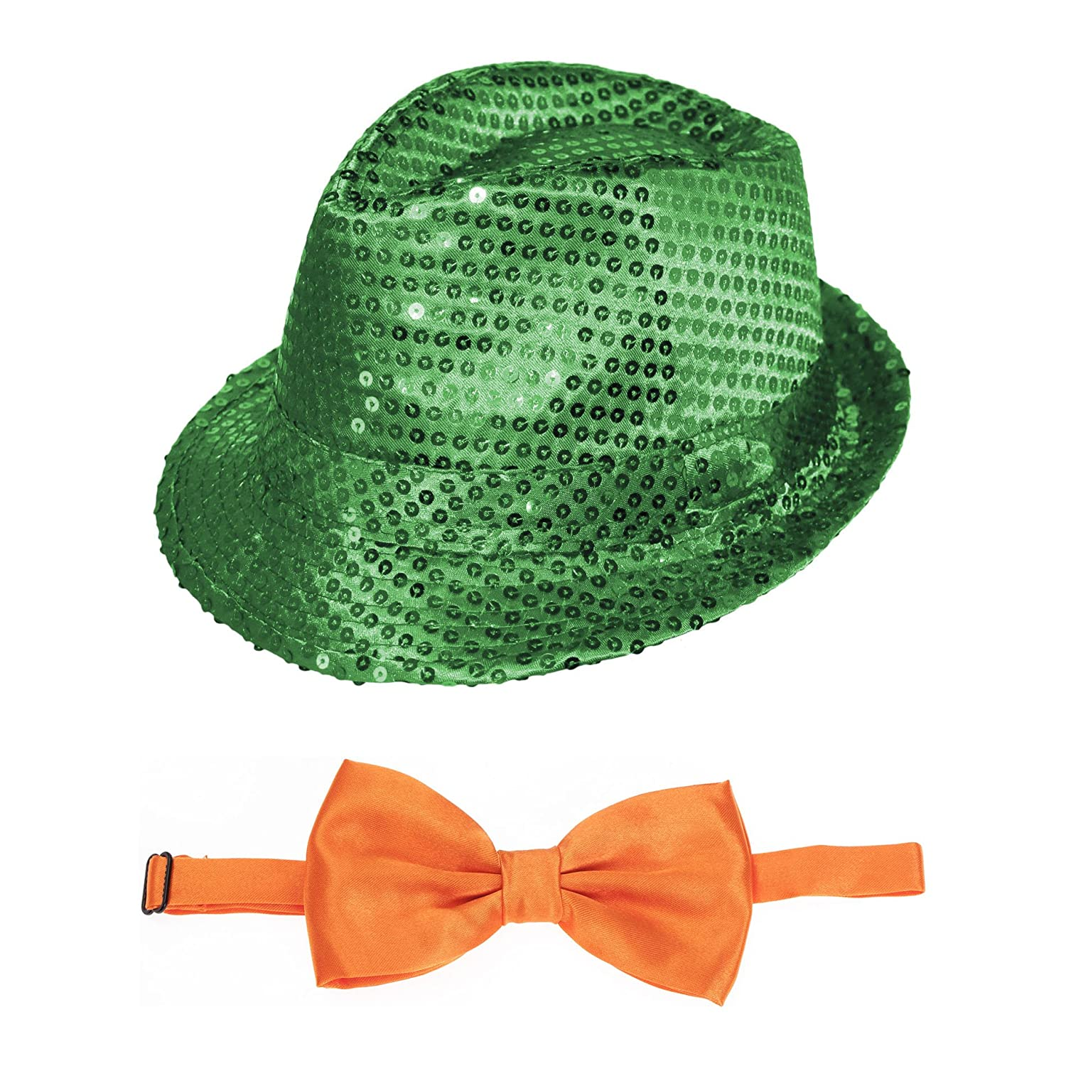 dd659851886 Details about St Patrick s Day Green Sequin Fedora Hat   Orange Bow Tie  Fancy Dress