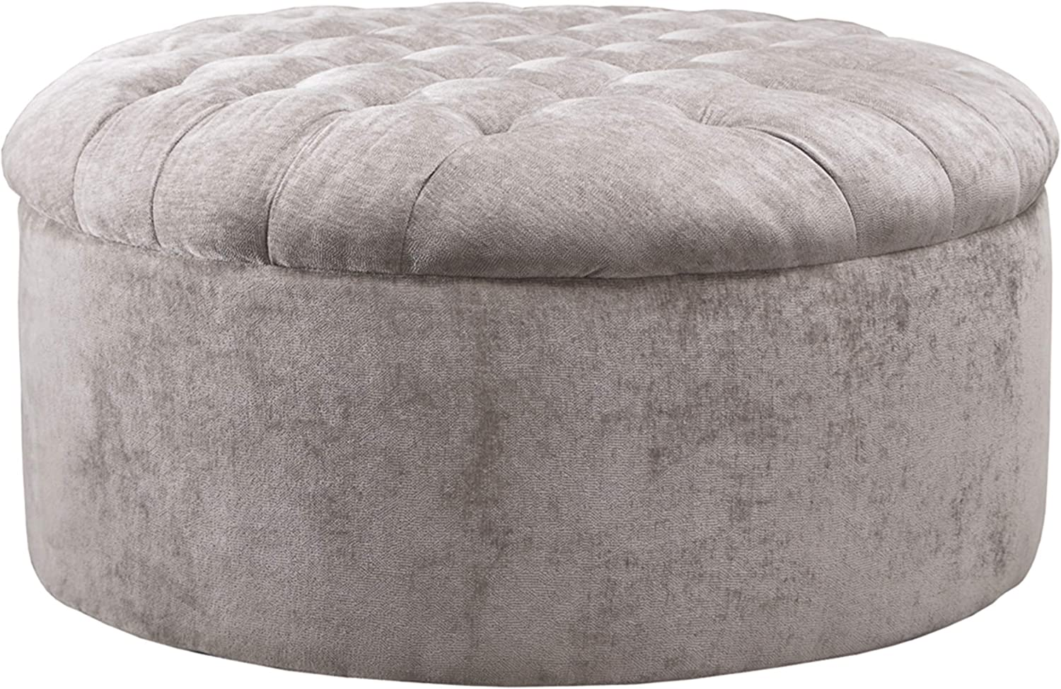 Signature Design by Ashley - Carnaby Oversized Round Velvet Ottoman, Silver