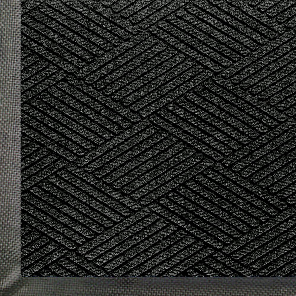 M+A Matting 2295 WaterHog Eco Premier Polyester Fiber Entrance Indoor/Outdoor Floor Mat, SBR Rubber Backing, 5' Length x 3' Width, 3/8'' Thick, Black Smoke