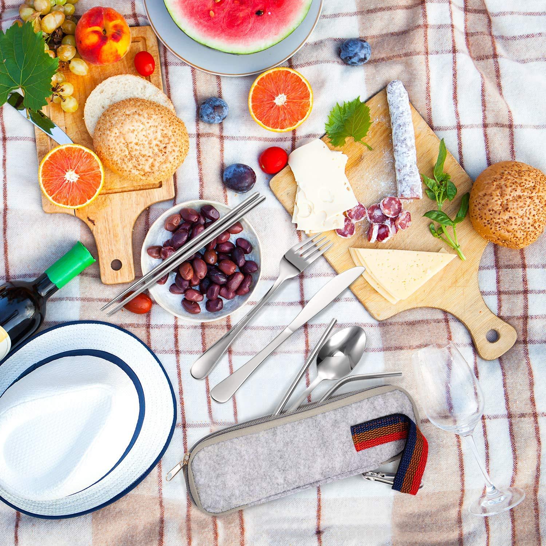 2 Strohhalm Reinigungsb/ürste 7-teilige Besteckset mit 2 L/öffel Messer lodogsow Outdoor Reisebesteck Campingbesteck aus Edelstahl mit Filztasche Gabel