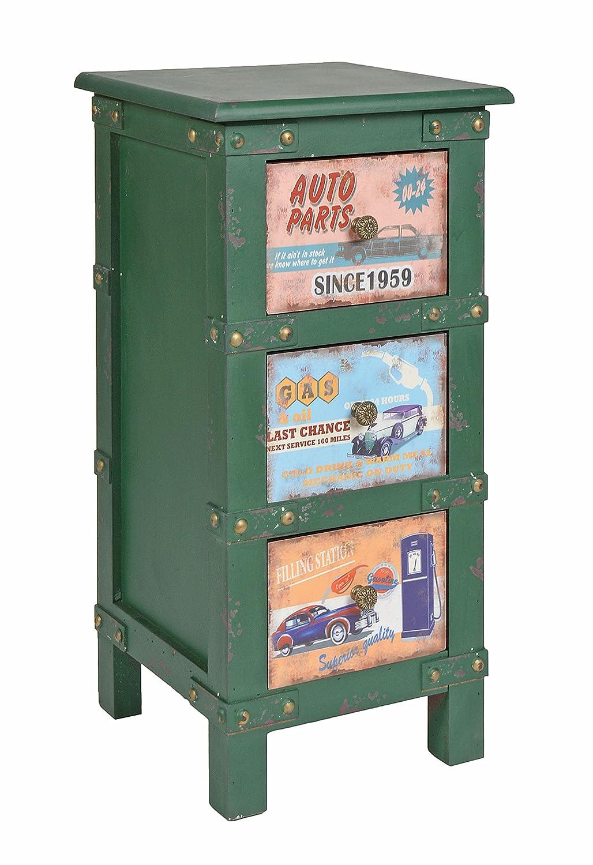 ts-ideen Cómoda Estilo Container Rústico Campesino Verde Contenedor Shabby Vintage Placas
