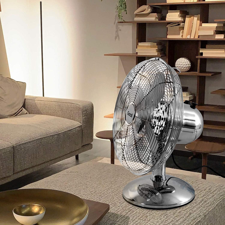 90/° Oscillation Adjustable Diam/ètre de 35cm Gotoll Ventilateur sur Pied en M/étal Chrome Ventilateur Industriel Design R/étro Mini Brasseur dAir 3 Vitesses