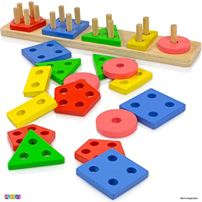 Play22 Shape Sorter Color Wooden Bard - Educational Toys for Toddlers - Kids Learning Toys Stack and Sort - 20 Pieces Geometric Board Chunky Puzzle Great Gift for Boys and Girls - Original: Toys & Games