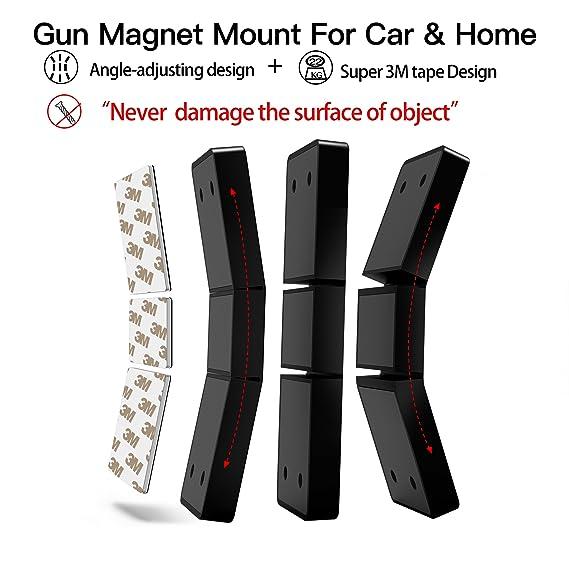leeken Gun Magnet Mount with 3M Tape & Holster- Multi Angle Adjustable  Design Never Damage car or Desk-Rubber Coated 43 Lbs Rated -Concealed  Holder