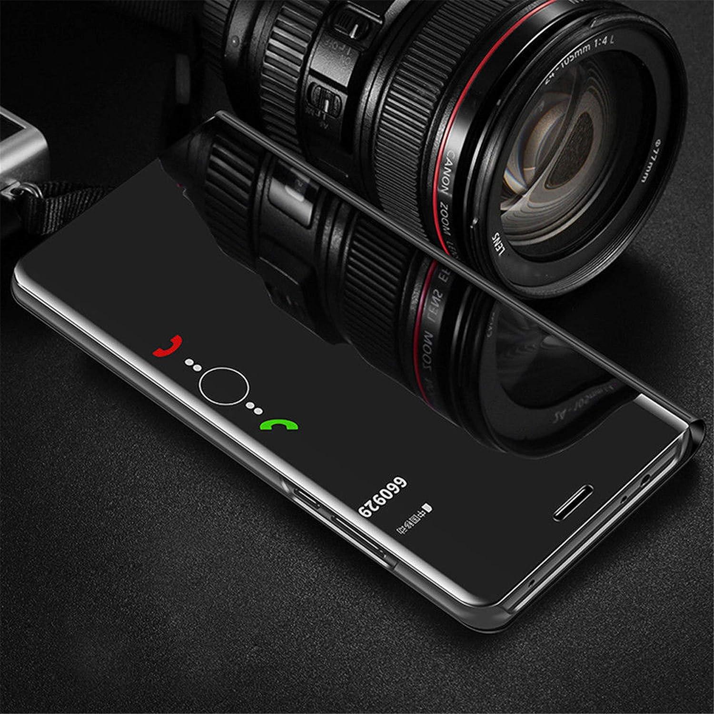Panzerglas schutzfolie Flip Transluzent View Miroir Spiegel Standfunktion Smart Cover Silber MLOTECH Kompatibel Huawei P30 Pro H/ülle ,Handyh/ülle