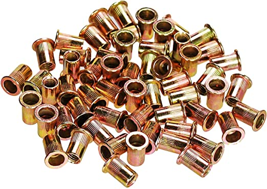 50 Fifty 5//16-18 UNC Rivet Nuts Zinc Plated Carbon Steel Flat Head Threaded