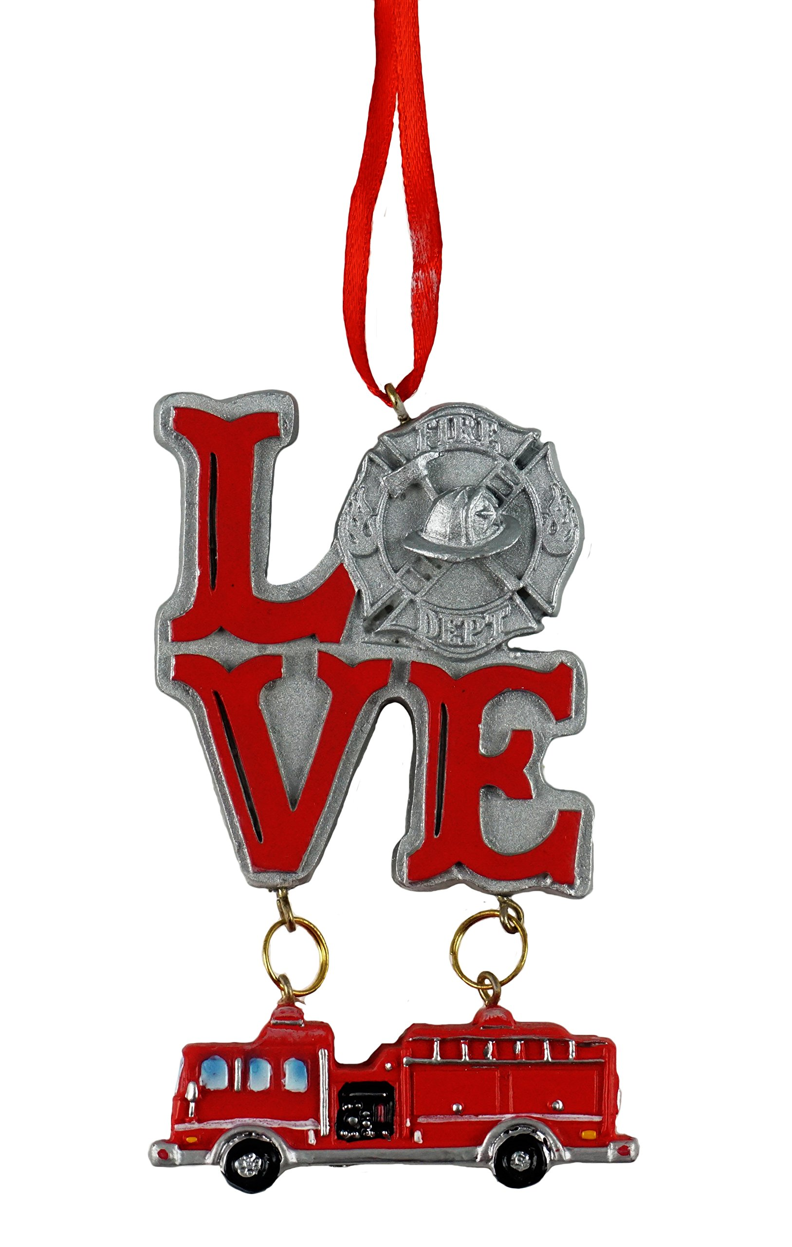 JWM Love Firefighter Hanging Christmas Ornament