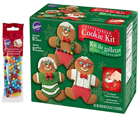 Christmas Cookie Decorating Kit.Gingerbread Cookie Kit Christmas Fun Decorating Kit Includes 8 Pre Baked Cookies Multi Colored Candies Fondant Icing Decorating Bag Tip