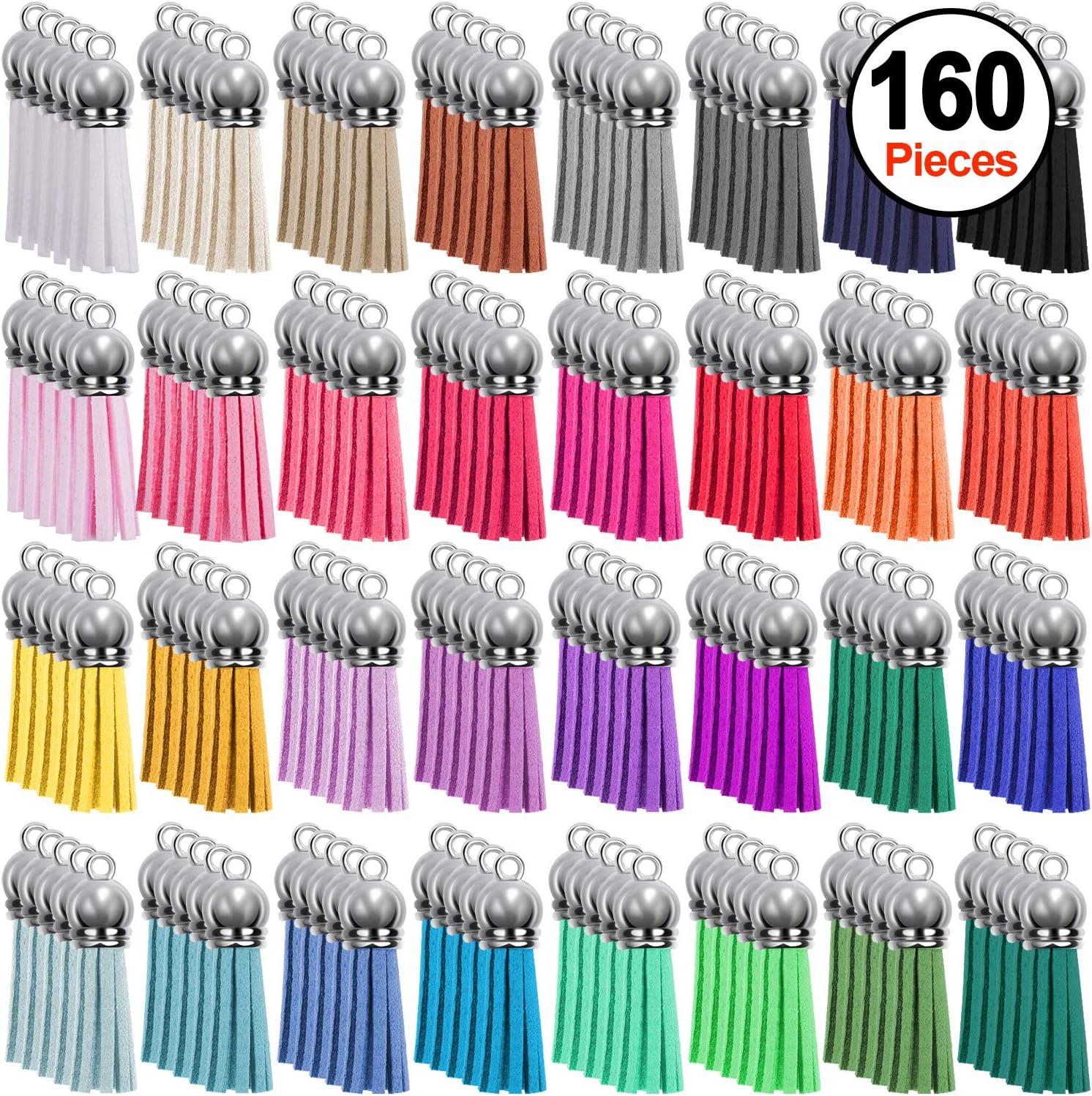 SIQUK 160 Piezas Colgantes de Borlas de Cuero 40mm Borlas de Ante Accesorios para Llavero y Bricolaje Decoración 32 Colores