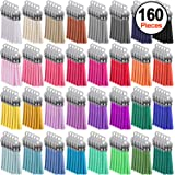 SIQUK 160 Pieces Keychain Tassels Leather Tassel Bulk for DIY Keychain and Craft, 32 Colors