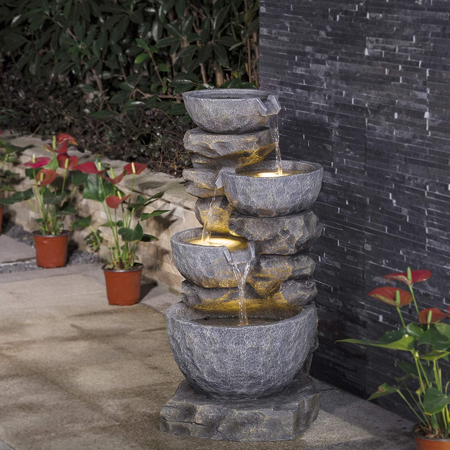 """Glitzhome 4-Tier Patio Fountain Waterfall Staked Outdoor Water Fountain with LED Lights Patio Water Fountain Garden Waterfall Decorative Vintage Water Fountain for Garden Patio Deck Porch, 32""""H"""