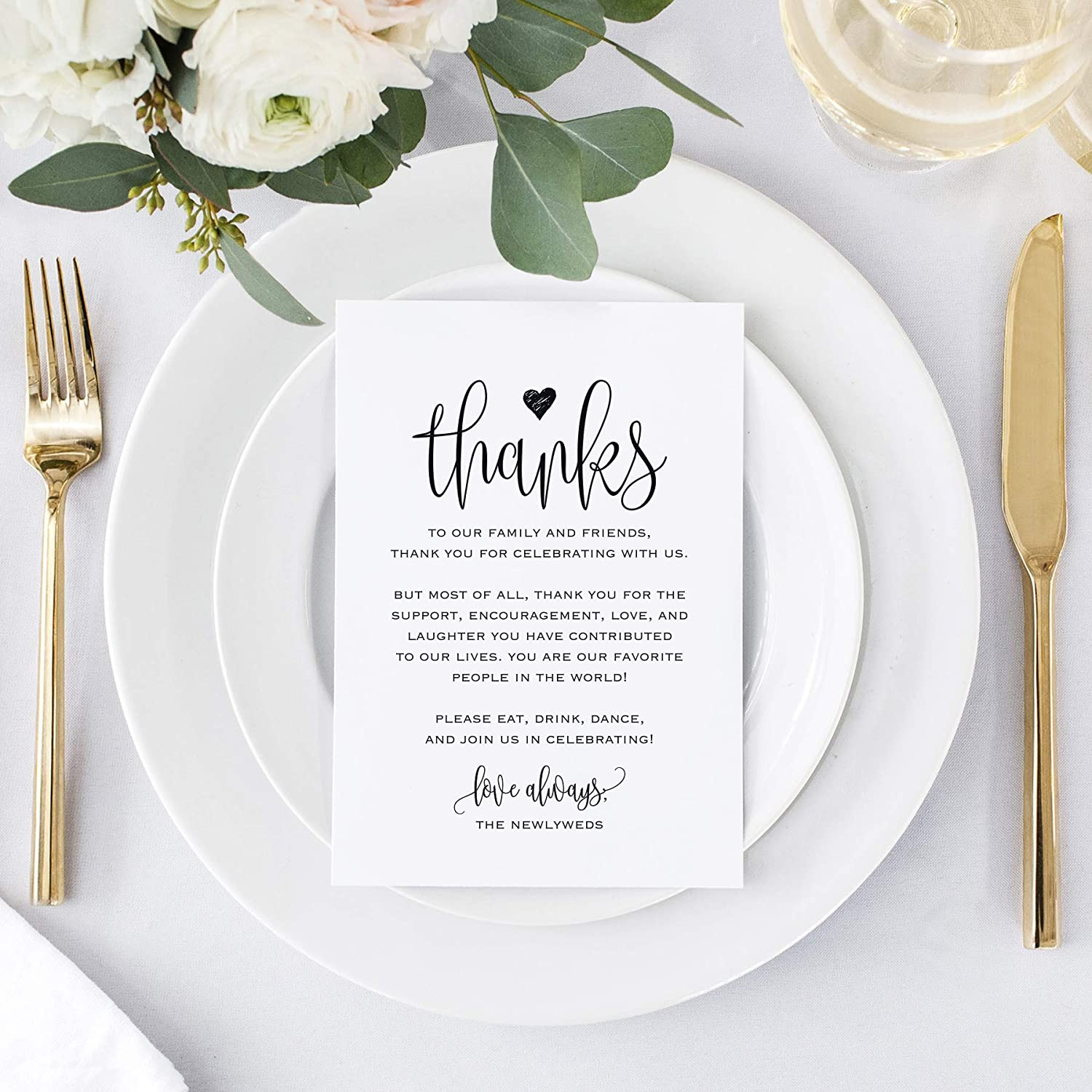 Bliss Collections Wedding Reception Thank You Cards, Pack of 10 Black Font  Cards, Great Addition to Your Table Centerpiece, Place Setting, Wedding