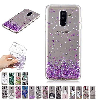 E-Mandala Funda Samsung Galaxy A6 Plus 2018 Corazón Carcasa Transparente con Dibujos Case Cover Silicona Gel TPU Goma Bumper Ultra Fina Slim