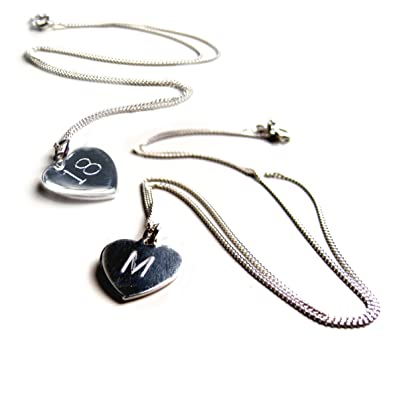 fee4bec5809d0 Aye Do Ltd Heart Pendant-Personalised PERSONALISED Engraved Necklace-16INCH-Sterling  Silver-Gift-Girl  Amazon.co.uk  Jewellery