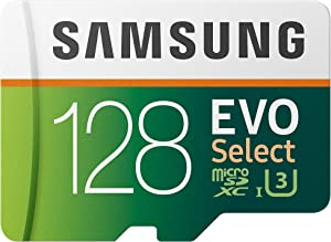 Samsung EVO Select 128GB microSDXC UHS-I U3 100MB/s Full HD & 4K UHD Memory Card with Adapter (MB-ME128HA)