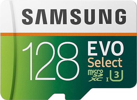 SAMSUNG: EVO Select 128GB MicroSDXC UHS-I U3 100MB/s Full HD & 4K UHD Card مع محول (MB-ME128HA)