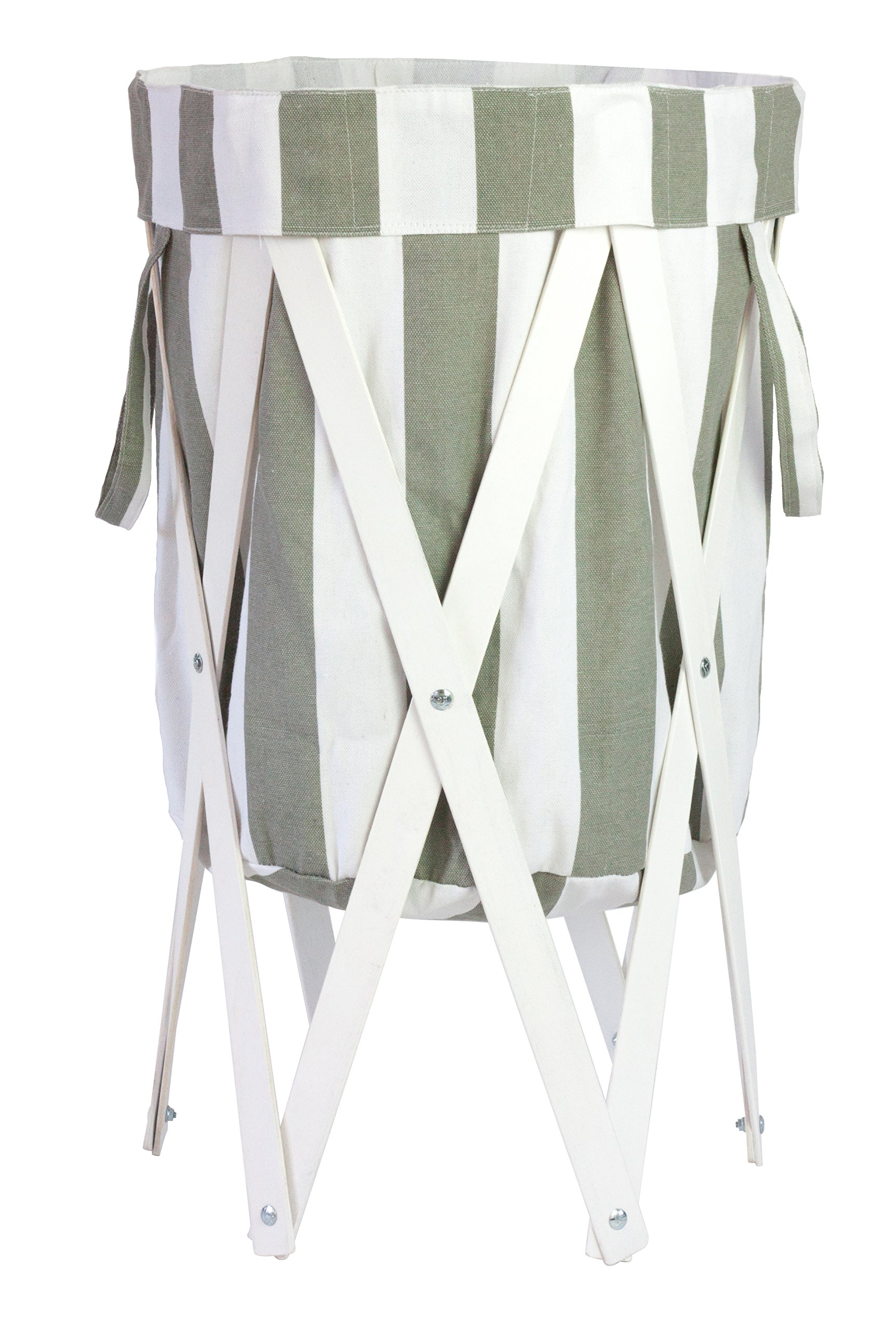 MAX + RAE Collapsible Laundry Hamper with White Wood Frame   Dirty Clothes Storage   Removable Fabric Bag with Handles, Easy to Carry and Clean   Nursery, Kids Bedroom, Bathroom (Gray White Stripes)