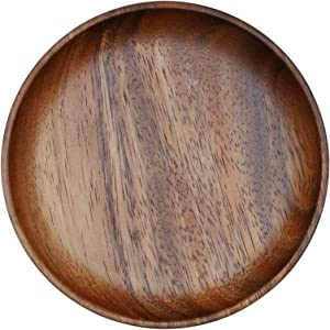 Roskio 4.7 Inches Solid Wood Serving Platters Trays Breakfast Lunch Dinner Food Pan Plate with Raised Edges, for Home Kitchen Restaurant Pizza Bread Baking Cooking