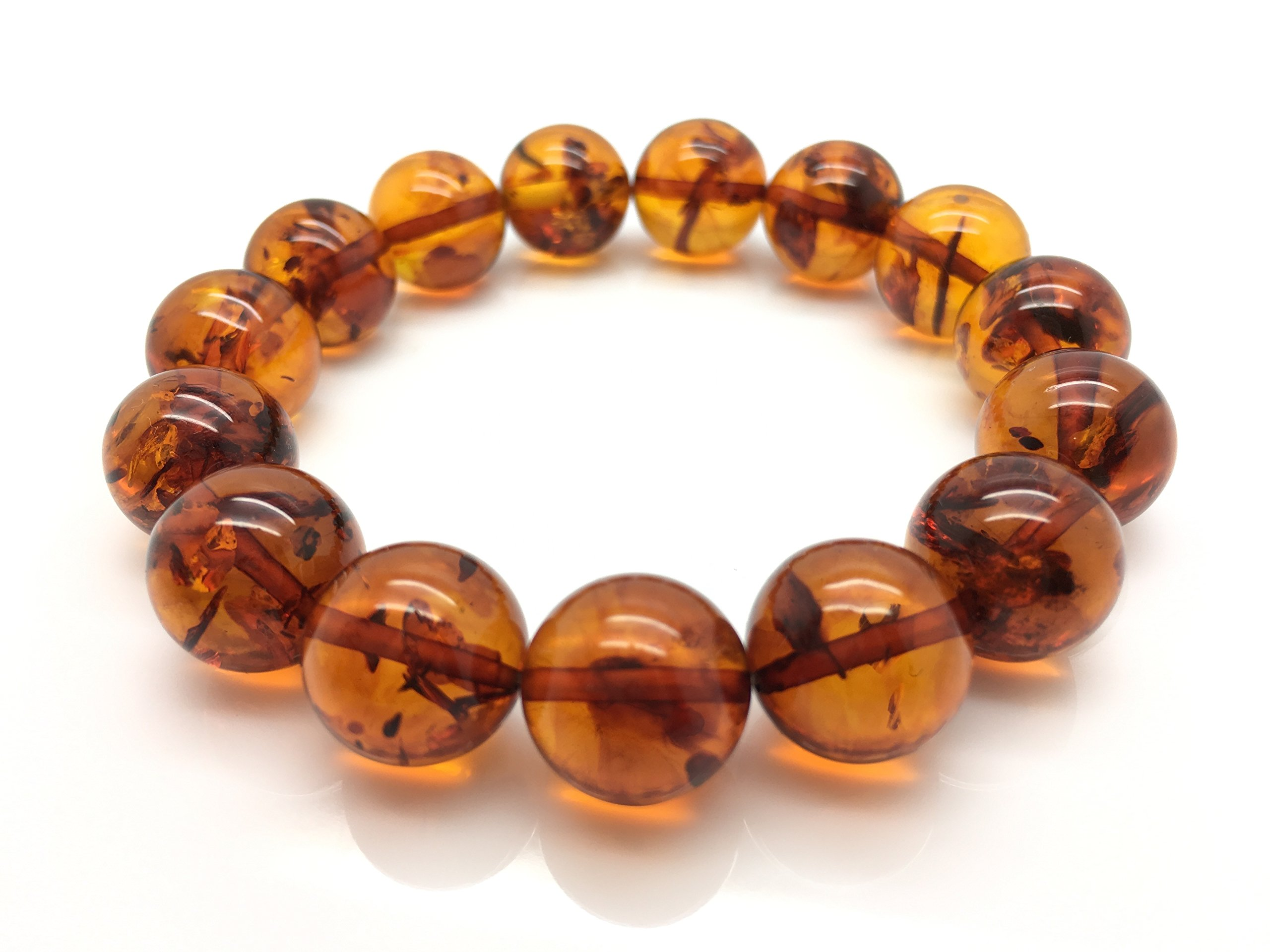 Natural Baltic Amber Bracelet Light Cognac Colour 20,6g 13± mm size. by Mister Amber