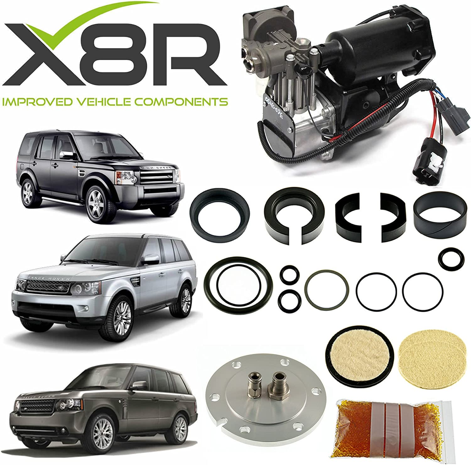 X8R RESTORE KIT FOR HITACHI AIR COMPRESSOR AND FILTER DRYER REBUILD COMPATIBLE WITH LAND ROVER LR3 / LR4 / RANGE ROVER SPORT & RANGE ROVER L322, PART # X8R44 / X8R0044