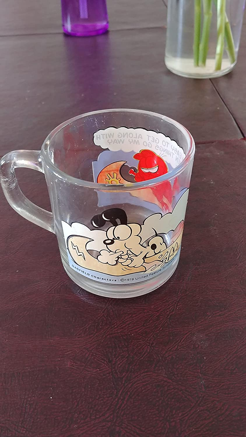 McDonalds Garfield Glass Anchor Hocking SYNCHKG004292 1978 // Im Easy To Get Along With // 3 1//2