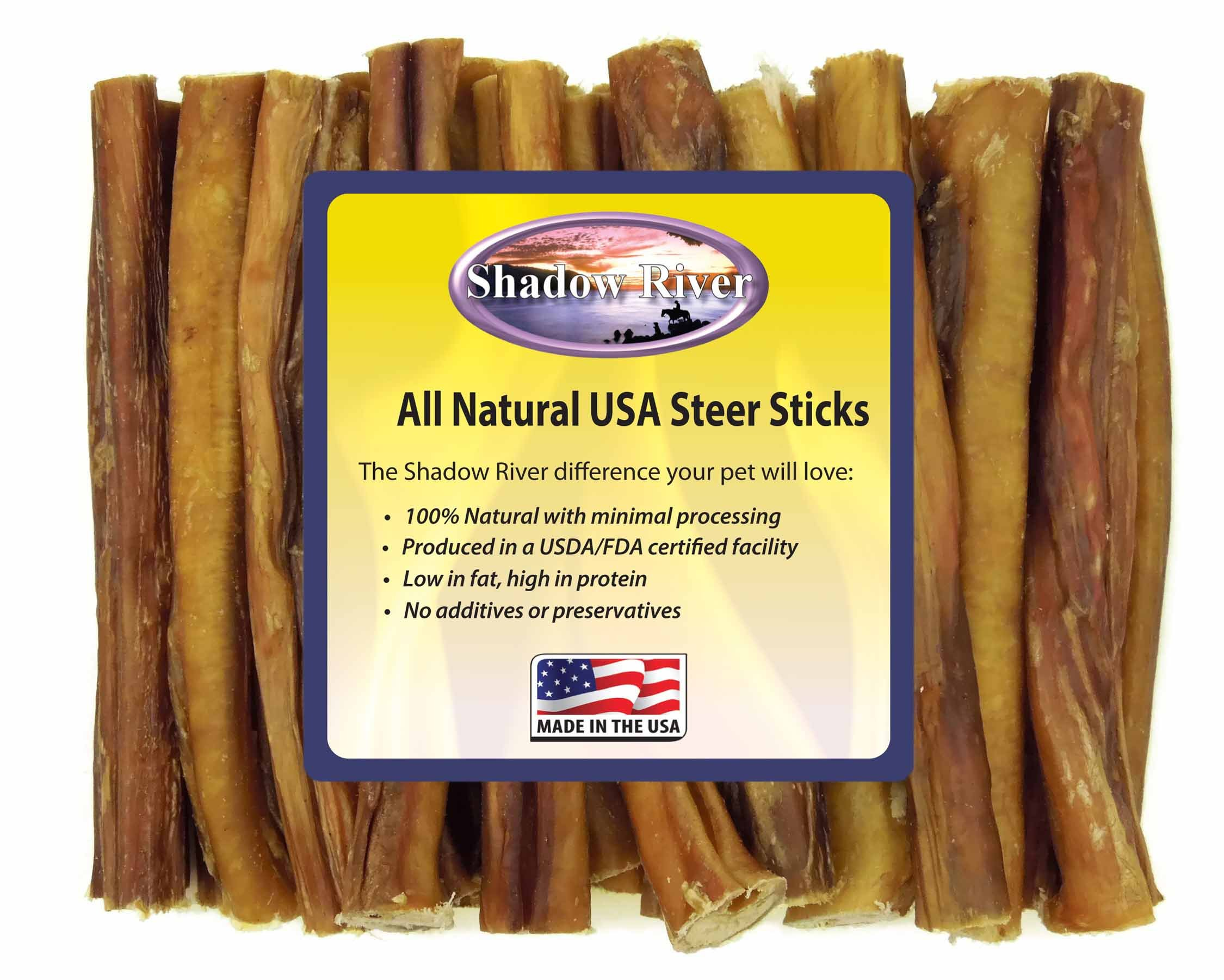 Shadow River 25 Pack 6 Inch Regular All Natural Steer Sticks for Dogs