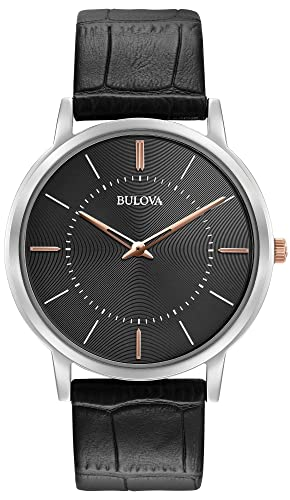 Bulova 98A167 - Reloj de Pulsera de Diseño para Hombre - Ultrafino - Correa de Cuero - Negro: Amazon.es: Relojes