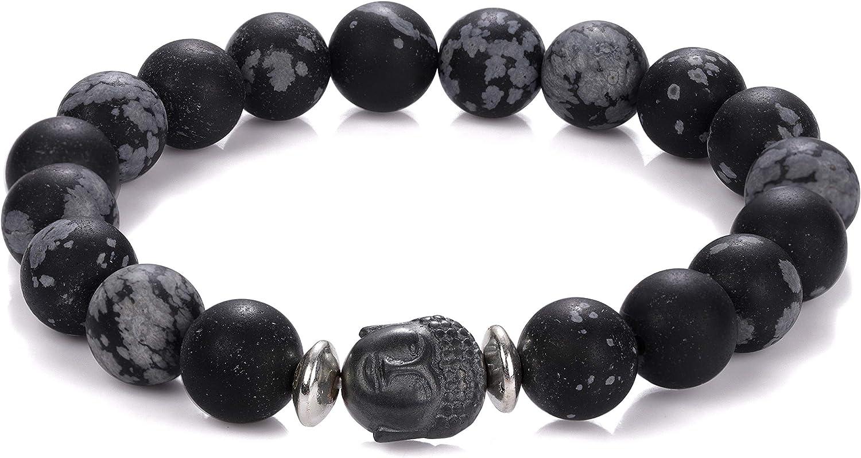 Pulsera de obsidiana de copo de nieve con Buda, hecha a mano, elástica, obsidiana de copo de nieve, pulsera de obsidiana natural para ella, pulsera de Buda