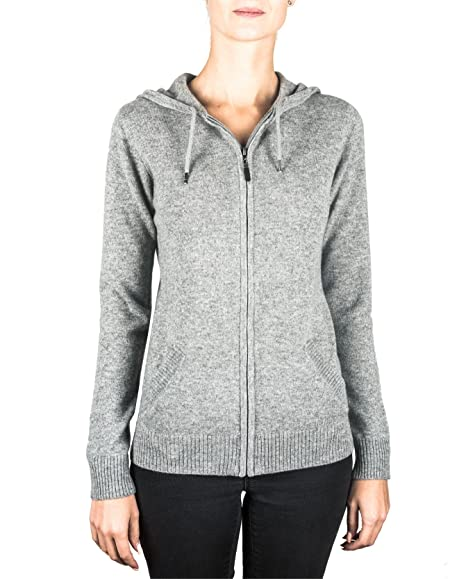 1b3cf089 CASH-MERE.CH 100% Cashmere Women's Zip Hoodie | Sweater: Amazon.co ...