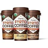 FORTO Organic Coffee Shot, Variety Pack (2 Mocha, 2 Vanilla, 2 Sweetened Black), Extra Energy, 200mg Caffeine, 6 count